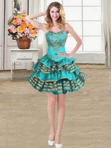 Embroidery and Ruffled Layers Dress Like A Star Teal Lace Up Sleeveless Mini Length