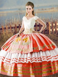 Custom Made Satin Sleeveless Floor Length Quinceanera Gowns and Embroidery and Ruffled Layers