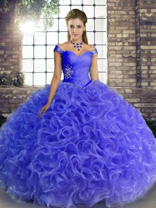 Fine Blue Lace Up Quinceanera Dresses Beading Sleeveless Floor Length