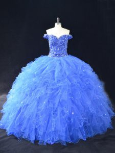 Blue Tulle Lace Up Sweet 16 Dresses Sleeveless Floor Length Beading and Ruffles