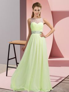 Fancy Yellow Green Empire Chiffon Scoop Sleeveless Beading Floor Length Backless Celeb Inspired Gowns