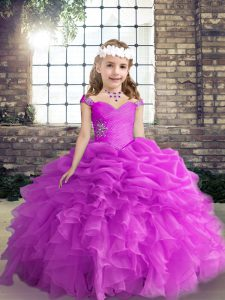 Organza Sleeveless Floor Length Pageant Dress and Beading and Ruffles and Pick Ups