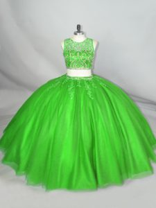Scoop Sleeveless Quinceanera Gowns Floor Length Beading and Appliques Green Tulle