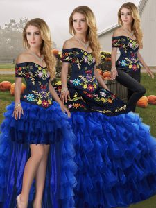 Sophisticated Off The Shoulder Sleeveless Lace Up Quinceanera Dress Blue And Black Organza