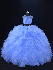 Blue Sleeveless Organza Zipper Sweet 16 Quinceanera Dress for Sweet 16 and Quinceanera