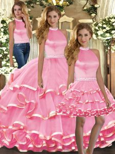 Suitable Halter Top Sleeveless Quinceanera Dress Floor Length Beading and Ruffled Layers Pink Organza