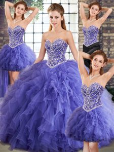 Lavender Tulle Lace Up Sweetheart Sleeveless Floor Length Sweet 16 Quinceanera Dress Beading and Ruffles