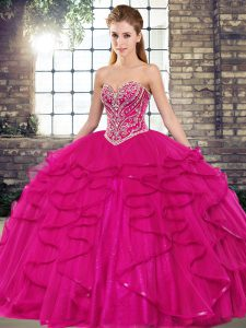 Customized Floor Length Fuchsia Quinceanera Gown Sweetheart Sleeveless Lace Up