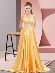 Popular V-neck Sleeveless Runway Inspired Dress Brush Train Beading Gold Elastic Woven Satin