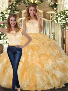 Floor Length Clasp Handle Quinceanera Gown Gold for Military Ball and Sweet 16 and Quinceanera with Lace and Ruffles