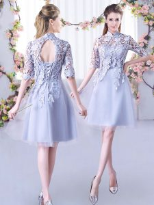 Best Selling Grey A-line High-neck Half Sleeves Tulle Mini Length Lace Up Lace Dama Dress for Quinceanera