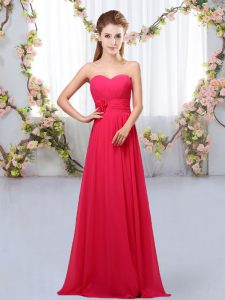 Super Sleeveless Chiffon Floor Length Lace Up Wedding Guest Dresses in Hot Pink with Hand Made Flower