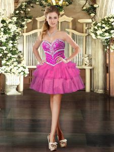 Cheap Mini Length Ball Gowns Sleeveless Hot Pink Prom Party Dress Lace Up