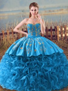 Floor Length Baby Blue Ball Gown Prom Dress Fabric With Rolling Flowers Brush Train Sleeveless Embroidery and Ruffles