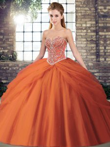 New Arrival Ball Gowns Sleeveless Orange Red Ball Gown Prom Dress Brush Train Lace Up