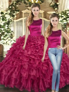 Scoop Sleeveless Lace Up Sweet 16 Dresses Fuchsia Organza