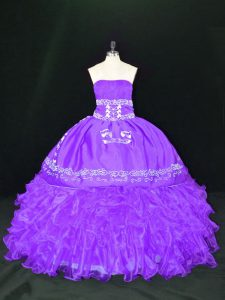 Sleeveless Organza Floor Length Lace Up Sweet 16 Dresses in Lavender with Embroidery and Ruffles