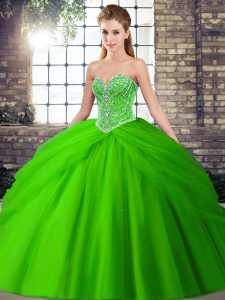 Dramatic Green Sleeveless Beading and Pick Ups Lace Up Sweet 16 Quinceanera Dress