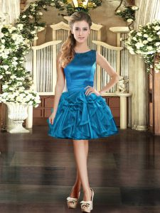 Blue Lace Up Prom Dress Ruffles Sleeveless Mini Length