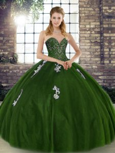 Sleeveless Floor Length Beading and Appliques Lace Up Quince Ball Gowns with Olive Green