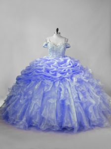 Superior Straps Sleeveless Organza Quinceanera Dress Beading and Ruffles and Pick Ups Brush Train Lace Up