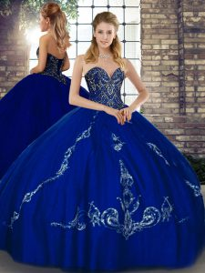 Fantastic Sweetheart Sleeveless Tulle Quinceanera Gown Beading and Embroidery Lace Up