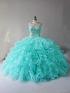Most Popular Aqua Blue Sleeveless Beading and Ruffles Lace Up Quince Ball Gowns