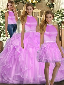 Sleeveless Organza Floor Length Lace Up Quinceanera Gown in Lilac with Beading and Ruffles