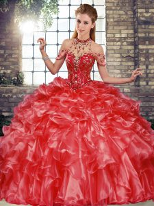 Glittering Halter Top Sleeveless Organza 15 Quinceanera Dress Beading and Ruffles Lace Up