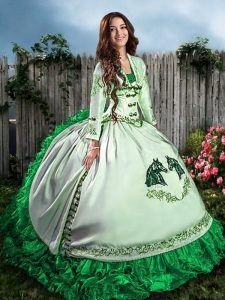 Glamorous Green Ball Gowns Sweetheart Sleeveless Satin Floor Length Lace Up Embroidery and Ruffles Quinceanera Dresses