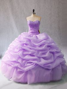 Sleeveless Organza Floor Length Lace Up Sweet 16 Quinceanera Dress in Lavender with Beading and Pick Ups
