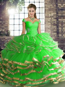 Vintage Green Tulle Lace Up Quinceanera Dresses Sleeveless Floor Length Beading and Ruffled Layers