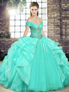 Apple Green Off The Shoulder Lace Up Beading and Ruffles Quinceanera Gown Sleeveless