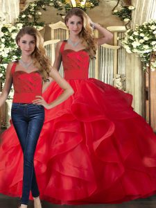 Red Tulle Lace Up Halter Top Sleeveless Floor Length Sweet 16 Quinceanera Dress Ruffles