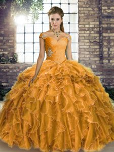 Top Selling Gold Lace Up 15th Birthday Dress Beading and Ruffles Sleeveless Brush Train