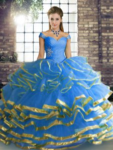 Dramatic Blue Tulle Lace Up Vestidos de Quinceanera Sleeveless Floor Length Beading and Ruffled Layers