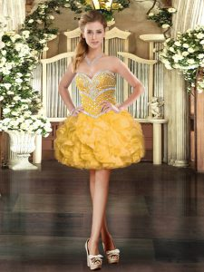 Attractive Beading and Ruffles Prom Evening Gown Gold Lace Up Sleeveless Mini Length