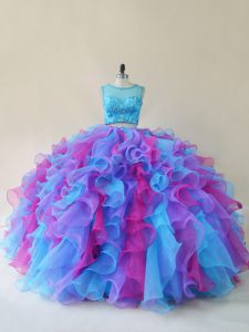 Graceful Multi-color Sleeveless Organza Lace Up Sweet 16 Dresses for Sweet 16 and Quinceanera