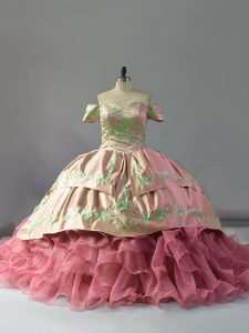 Pink Lace Up Sweet 16 Quinceanera Dress Embroidery and Ruffles Sleeveless Floor Length Chapel Train