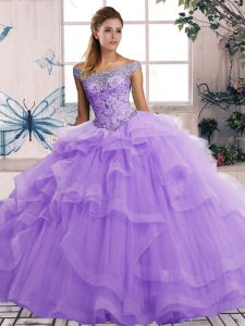 Simple Lavender Lace Up Quinceanera Gown Beading and Ruffles Sleeveless Floor Length