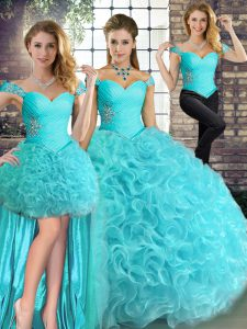 High End Aqua Blue Sleeveless Beading Floor Length Sweet 16 Dresses