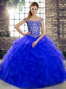 Graceful Off The Shoulder Sleeveless Tulle Sweet 16 Quinceanera Dress Beading and Ruffles Brush Train Lace Up