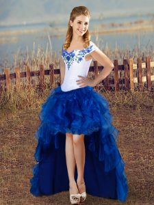 Affordable Sleeveless Organza High Low Lace Up Pageant Dress Womens in Blue And White with Embroidery