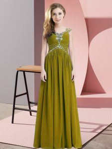 Straps Cap Sleeves Chiffon Prom Dress Beading and Ruching Lace Up