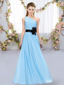 High End Aqua Blue Dama Dress for Quinceanera Wedding Party with Belt One Shoulder Sleeveless Zipper