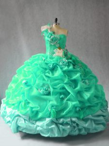 Custom Design Turquoise One Shoulder Neckline Pick Ups and Hand Made Flower Ball Gown Prom Dress Sleeveless Lace Up