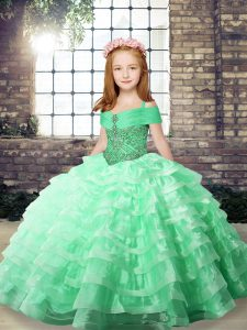Apple Green Organza Lace Up Child Pageant Dress Sleeveless Floor Length Beading and Ruffled Layers
