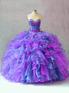 Colorful Sleeveless Lace Up Floor Length Beading and Appliques and Ruffles Sweet 16 Quinceanera Dress