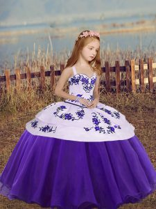 Customized Sleeveless Floor Length Embroidery Lace Up Custom Made Pageant Dress with Eggplant Purple and Purple