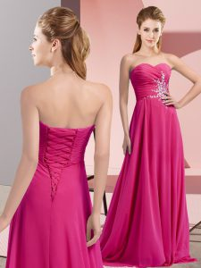 Excellent Floor Length Empire Sleeveless Fuchsia Prom Gown Lace Up